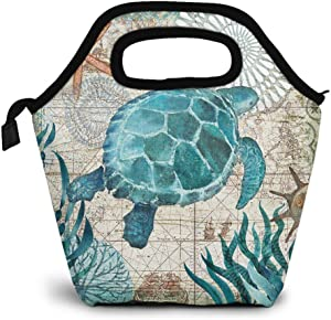 Britimes Lunch Bag Insulated Carrying Bag Thermal Waterproof Cooler Warm Lunchbox Tote Box Case for School Travel Outdoor Office Work Picnic Blue Turtle