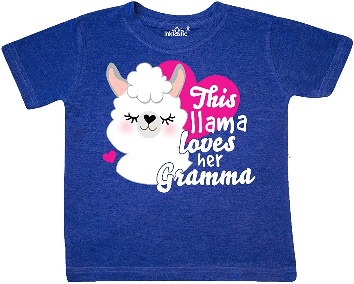 inktastic Valentines Day This Llama Loves Her Gramma Toddler T-Shirt