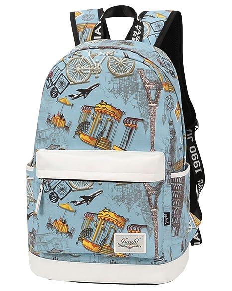 Mujer Impresión Backpack Mochilas Escolares Mochila Escolar Lona Bolsa Casual Azul