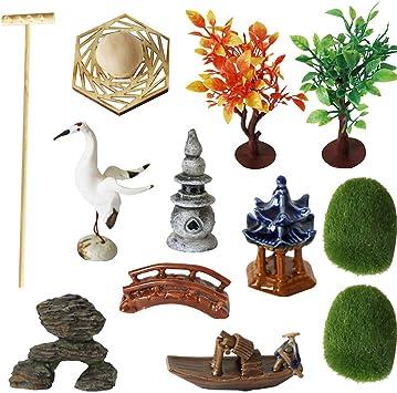 Accesorios de jardín Zen Deluxe – Kit de Mesa de meditación Rock Sand Garden con rastrillos de Musgo Puente de grúas de cerámica (Juego de 12): Amazon.es: Juguetes y juegos