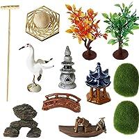 Deluxe Zen Garden Tool Kits Accessories - Tabletop Meditation Rock Sand Box Gifts Rakes Bridge Pagoda Crane Stamp Bonsai Tress Plant Relaxation Sandbox Set Office Desktop Calming Stress Relief Toy
