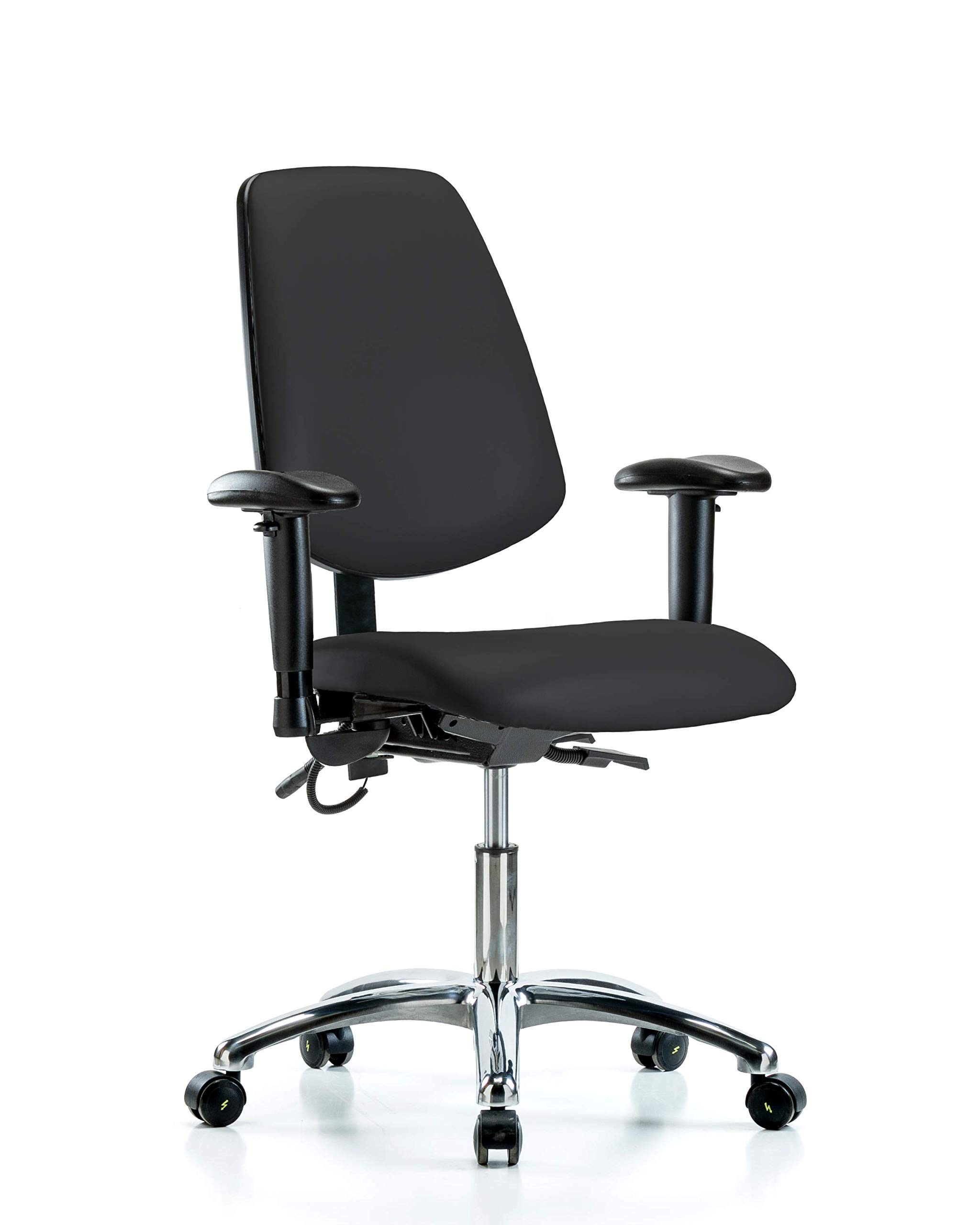 LabTech Seating LT41187 ESD Vinyl Desk Height Chair Medium Back Chrome Base, Arms, ESD Casters, Black