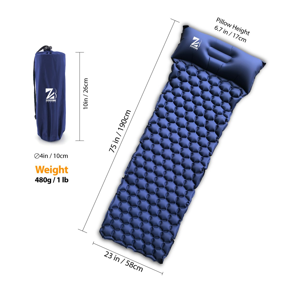 ZOOOBELIVES Ultralight Air Sleeping Pad with Pillow Inflatable Camping Mat for Backpacking, Traveling and Hiking Compact and Portable
