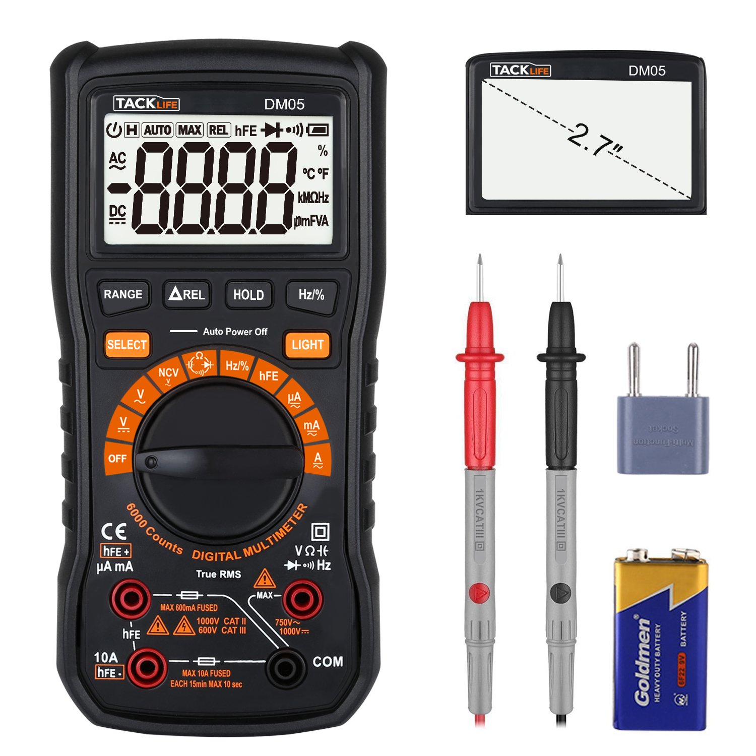 Multimeter, Tacklife DM05 Digital Multi Meter True RMS 6000 Counts Auto/Manual Ranging Non Contact AC/DC Voltage and Current, Frequency, Resistance, Capacitance, Diode, Triode, Duty Cycle Tester