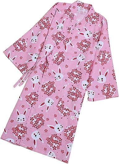 Vestido Camisero de algodón japonés para Mujer Kimono Pijama camisón-grúa B: Amazon.es: Ropa y accesorios