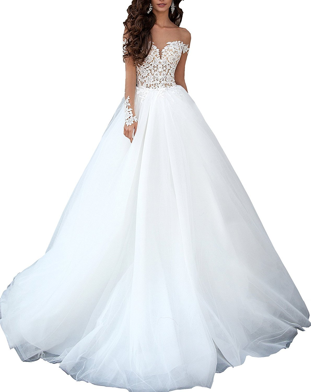 Luccatown Women' Illusion Long Sleeve Lace Top Tulle Wedding Dress Bridal Gowns White US 16