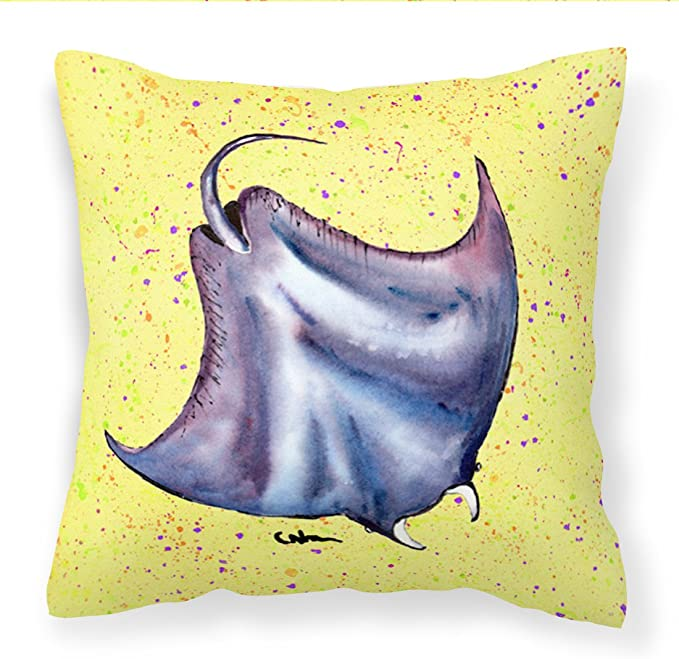 Amazon Com Caroline S Treasures 8531pw1414 Stingray On Yellow Fabric Decorative Pillow 14hx14w Multicolor Garden Outdoor