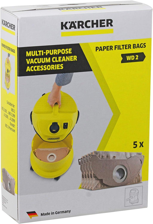 Karcher MV2 WD2 aspiradora fuerte doble capa bolsas de polvo (Pack ...