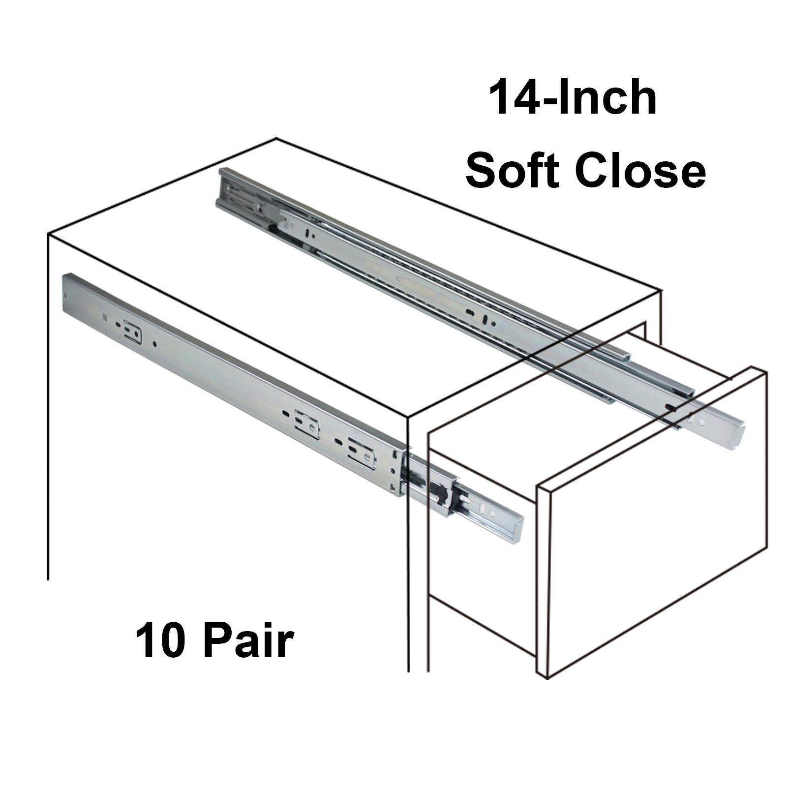 Gobrico Full Extension Soft Close Ball Bearing Drawer Slides 3Folds 10Pair, 14 Inch, Side Mounted