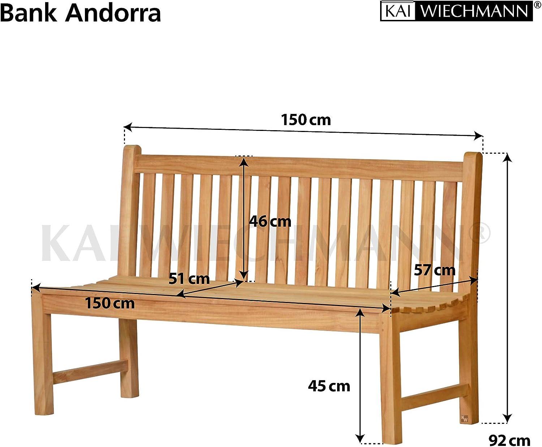 Kai Wiechmann Gartenbank Andorra ohne Armlehnen 150 cm 3-Sitzer unbehandelt wetterfest massiv