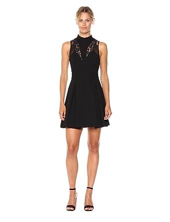 BCBGeneration Women's Lace Contrast Dress, Black, ...