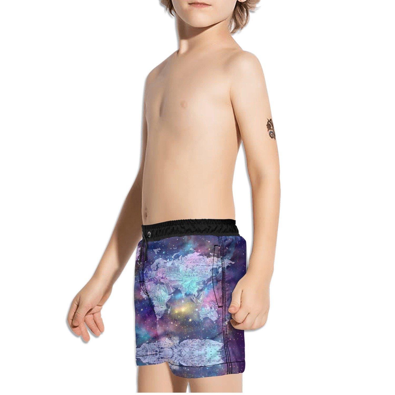 FullBo World Map Galaxy Little Boys Short Swim Trunks Quick Dry Beach Shorts