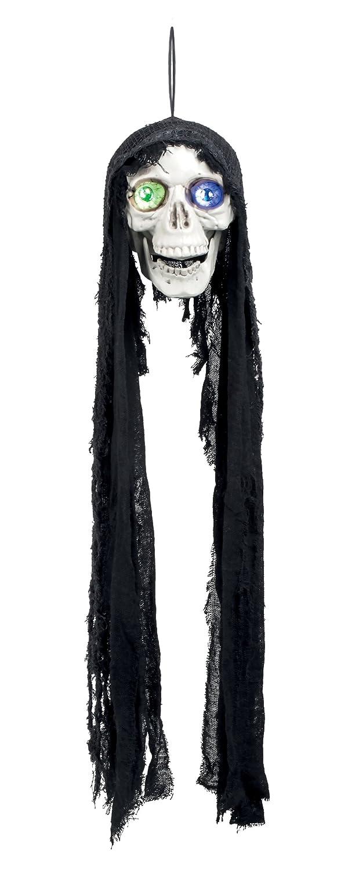 Boland - Decorazione Teschio Flashing Skull con Luci e Suono, Nero/Bianco, 73005