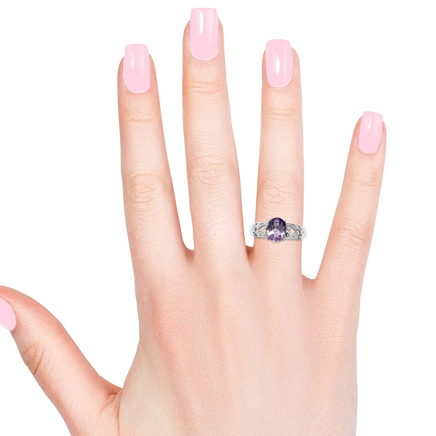 Shop LC Delivering Joy Solitaire Ring Stainless Steel Oval Pink Amethyst Gift Jewelry for Women Size 10 Cttw 2