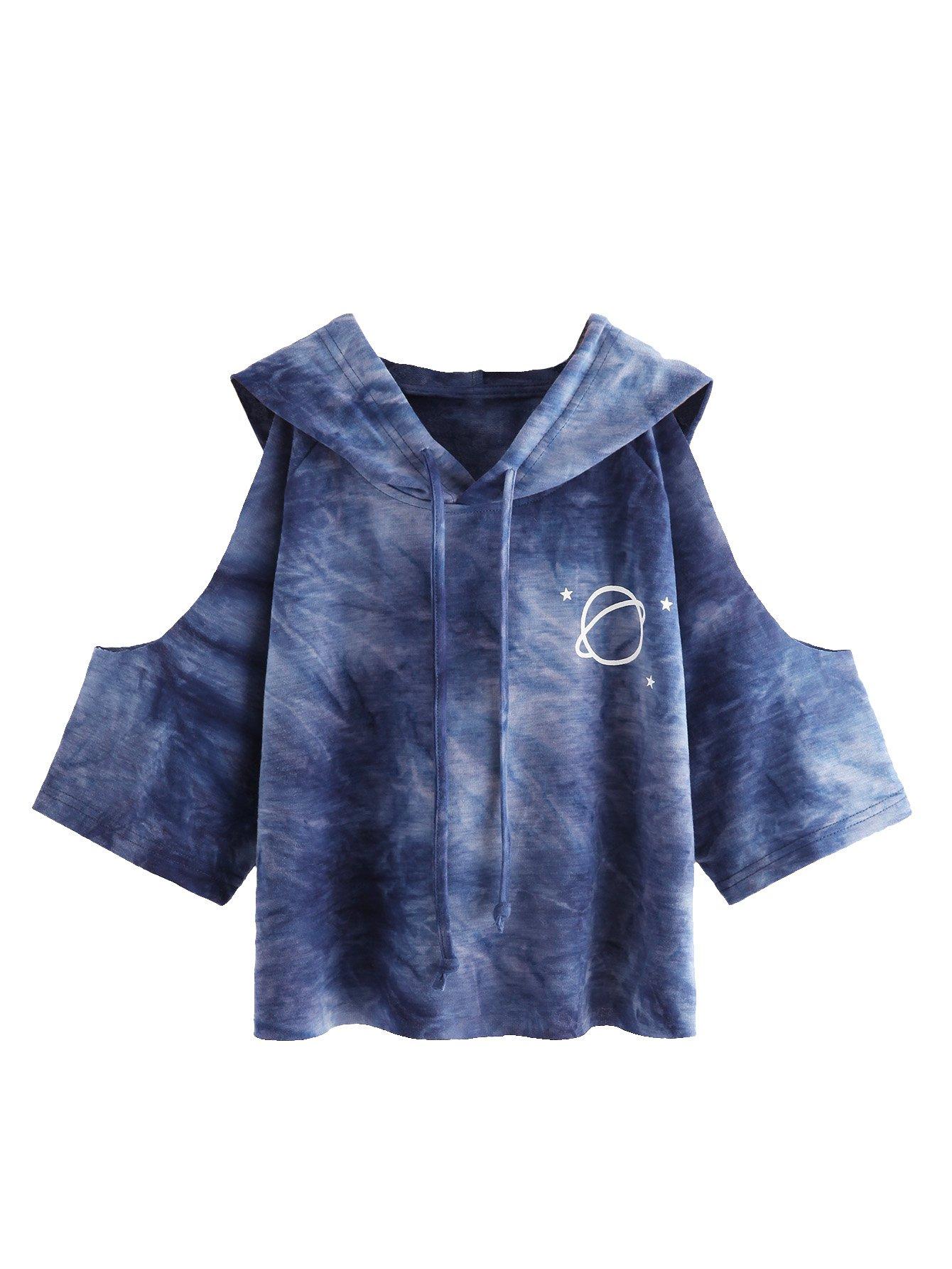 SweatyRocks Women's Cold Shoulder Tie Dye Pullover Hoodie Crop Top Sweatshirt Blue S