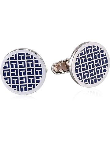 f682c527 Tommy Hilfiger Men's Stainless-Steel Cufflinks with Blue Enamel Jacquard  Pattern