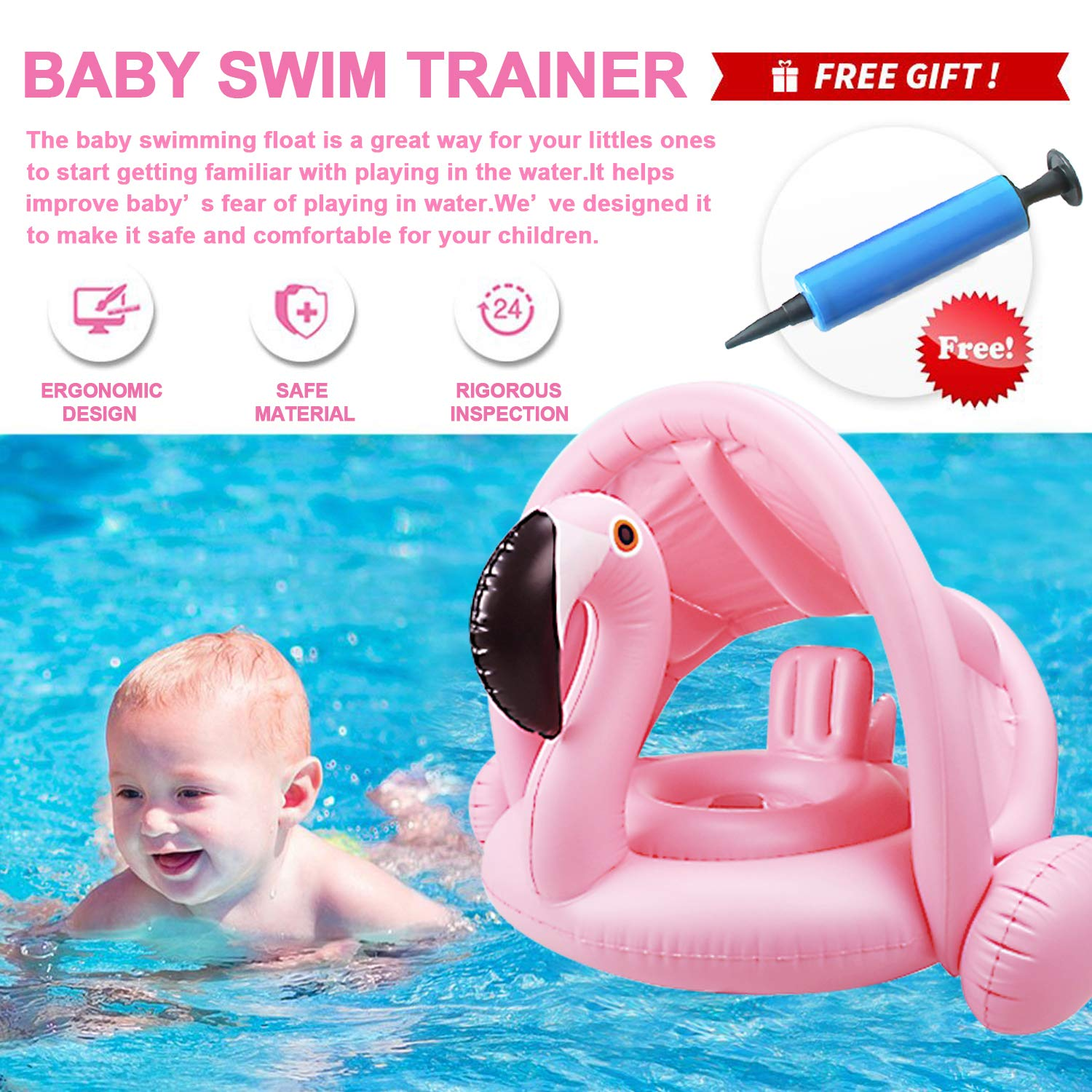 Joyork Baby Pool Float with Canopy Infant Swimming Ring Flamingo Pool Float with Shade Safety Seat Boat Swimming Training Float for Boys Girls of 3-36 Months Outdoor Summer Beach Swim Pool