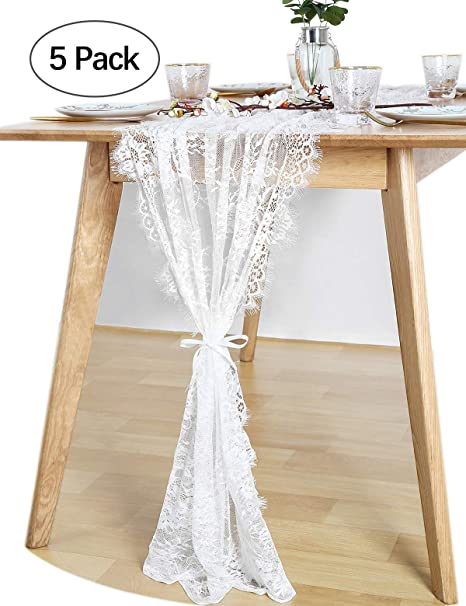 Queendream White Lace Table Runner Overlay 30x120 Inches 5 Pack Rustic Chic Wedding Reception Table Decor Boho Party Decoration Baby Shower Decor