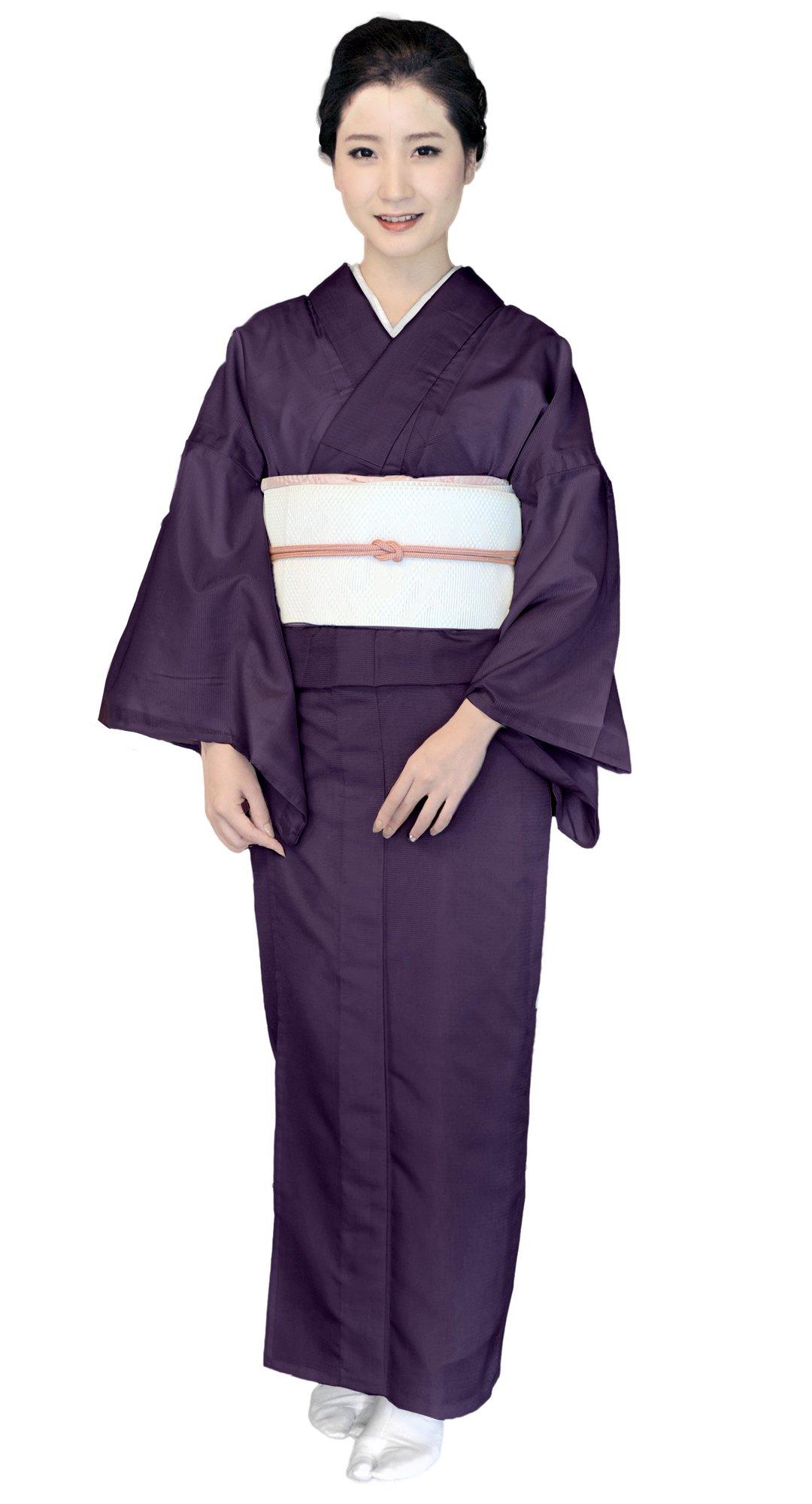 KYOETSU Women's Japanese Kimono Komaro Summer Washable (Medium, 6,deep purple)