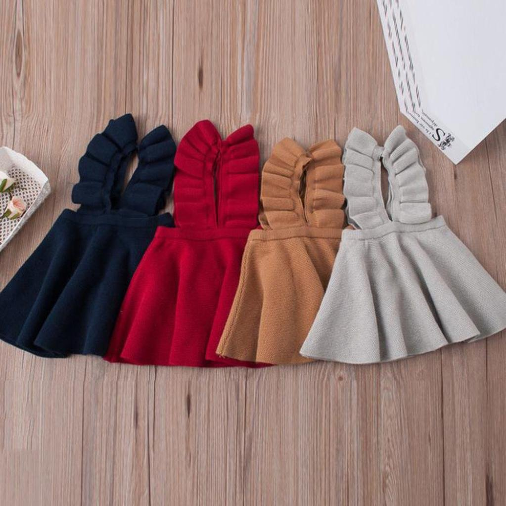 Lifestyler Autumn Toddler Girl Kids Baby Knit Sweater Solid Sleeveless Ruffle Dress Clothes