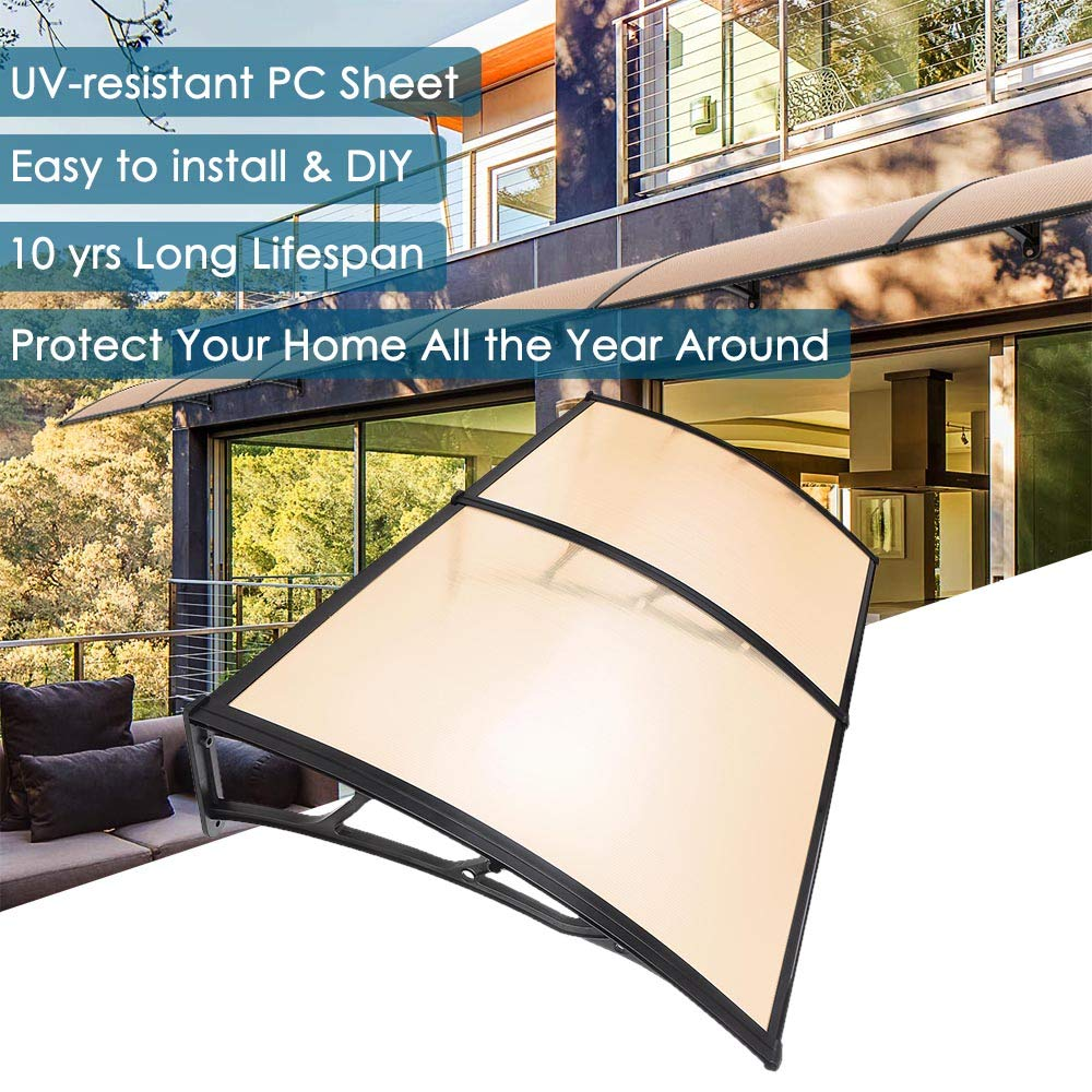 Yescom 79×40 Door Window Outdoor Awning 2 Whole Hollow Polycarbonate Sheets Cover UV Rain Snow Protection