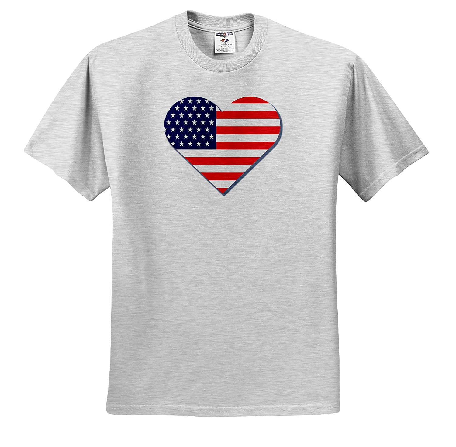 3dRose Made in The Highlands T-Shirts Heart Shaped American Flag Design Vector- American Heart