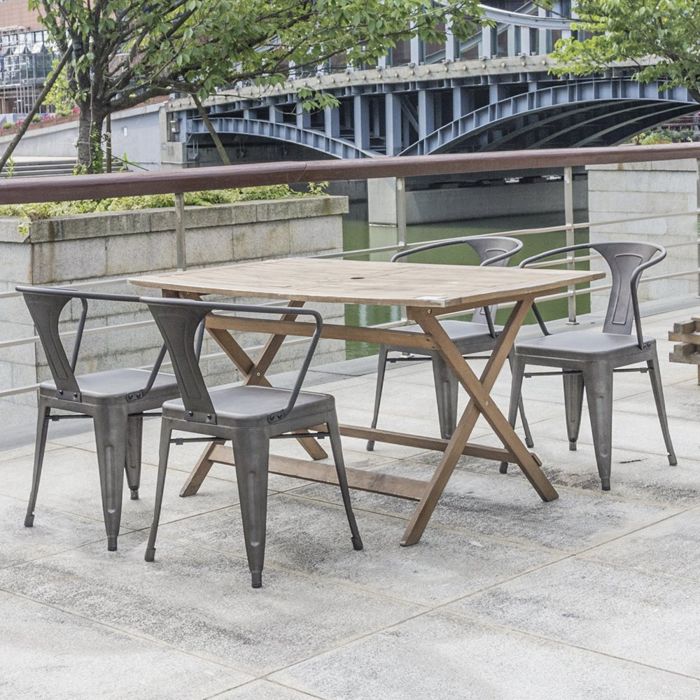 Devoko Gun Metal Chairs Indoor-Outdoor Tolix Style Kitchen Dining Chairs Stackable Arm Chairs Set of ... & Devoko Gun Metal Chairs Indoor-Outdoor Tolix Style Kitchen Dining ...