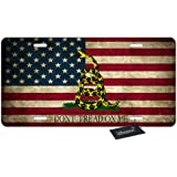 4 Holes Ja Yhou dontcy Dont Tread-On-Me Decorative Car Front License Plate,Vanity Tag,Metal Car Plate,Aluminum Novelty License Plate,6 X 12 Inch