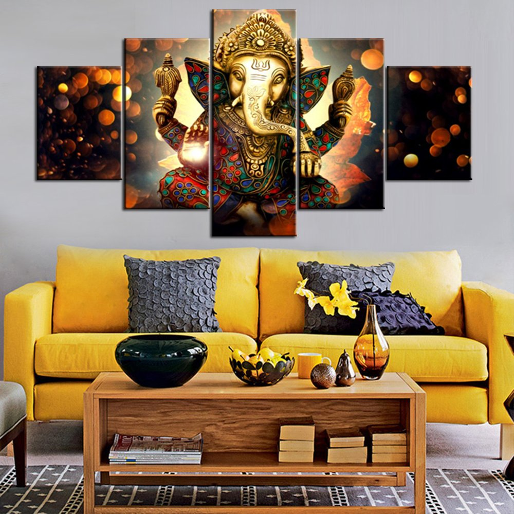 Wall Art for Living Room Deity Festival Artwork Paintings 5 Piece Ganesha Hindu God Canvas Pictures Artwork Home Decor Modern Posters and Prints Framed Gallery-wrapped Ready to Hang(60''Wx32''H)