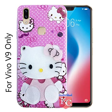 check out 0dc5f be20b KC Pink Mirror Girl Case with Diamonds Studs Back Cover for Vivo V9 & Vivo  V9 Youth - Pink