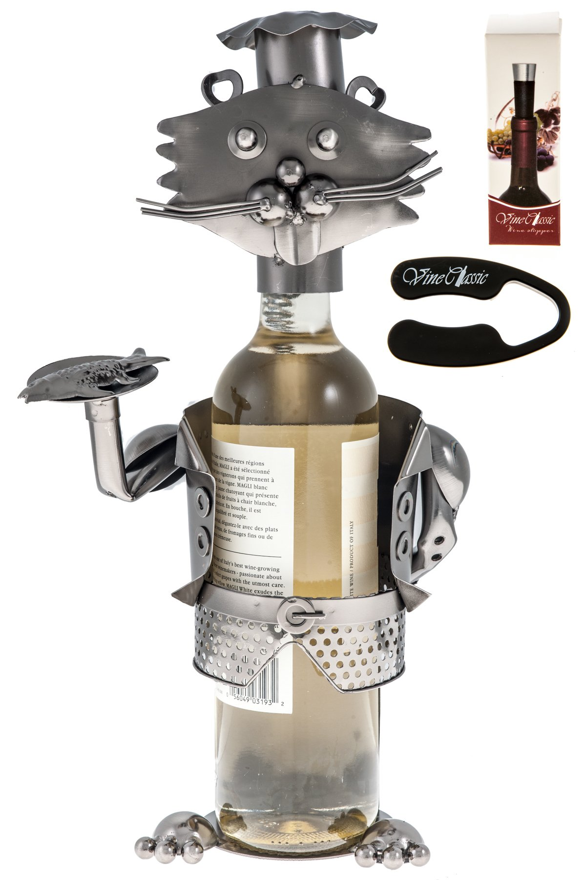Fabulous Cat Waiter Figurine Wearing a Chefs Hat and Holding a Tray of Fish, Genuine Hand Made Wine Bottle Holder Plus a Wine Foil Cutter and a Wine Vacuum Stopper
