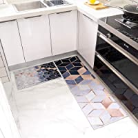 Kitchen Mat Set, Machine Washable Non-Slip Kitchen Mats and Rugs Runner Set Rubber Backing Entry Floor Carpet Door Mat…
