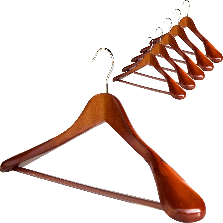 Clutter Mate - Set of 6 - Premium Finish Wooden Suit Hangers, Coat Hangers, Solid Cherry Wood Hangers with Wood-Grain, Wide Shoulder Heavy Clothes Hanger for Suits, Jacket, Non Slip Pants, Swivel Hook