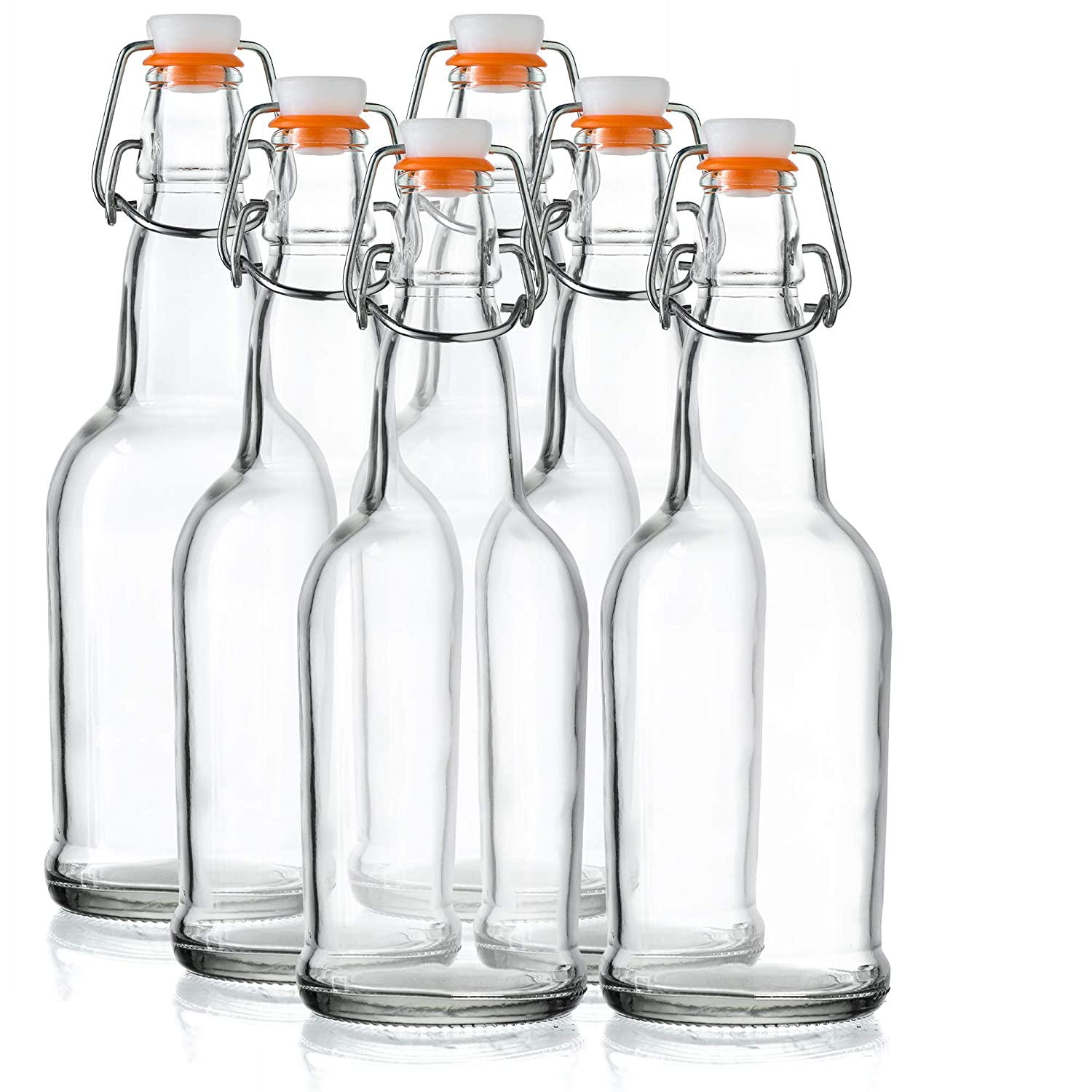 Home Brewing Glass Beer Bottle with Easy Wire Swing Cap & Airtight Rubber Seal - 16oz - Case of 6 - by Tiabo COMINHKPR135443