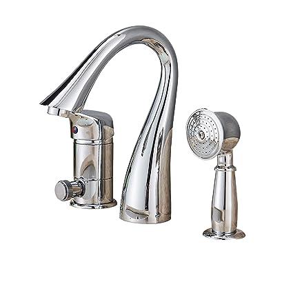 Roman Tub Faucet With Hand Shower 3 Hole.Rozin Deck Mount 3 Holes Bathtub Faucet Single Lever Mixer With Handheld Shower Chrome Finish