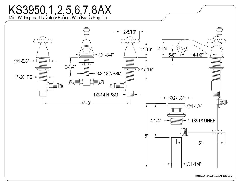 Kingston Brass KS3952AX Restoration Mini Widespread Lavatory Faucet with Metal Cross Handle Polished Brass