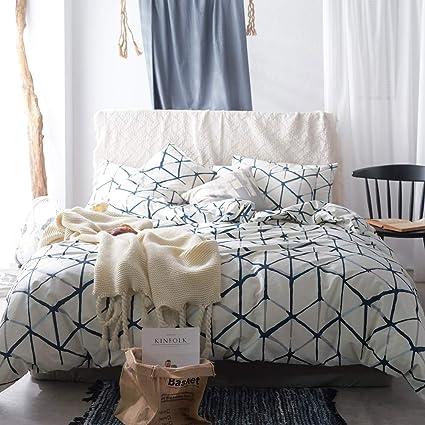 Amazon Com Vm Vougemarket White Duvet Cover Sets Geometric Pattern