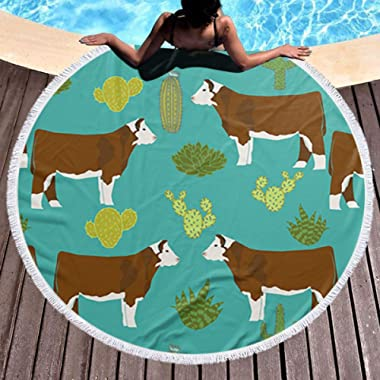 SSERFT Hereford Cow Thick Round Beach Towel Circle Beach Blanket - Soft Quick Dry Large Microfiber Terry Beach Roundie Circle Picnic Carpet Yoga Mat with Tassel 59 Inch