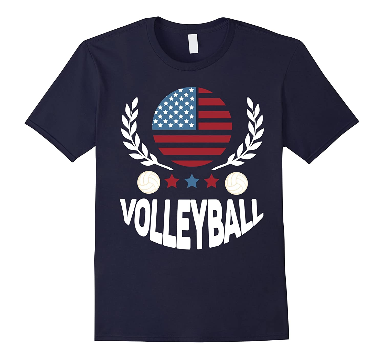 Volleyball American Flag T Shirt-Art