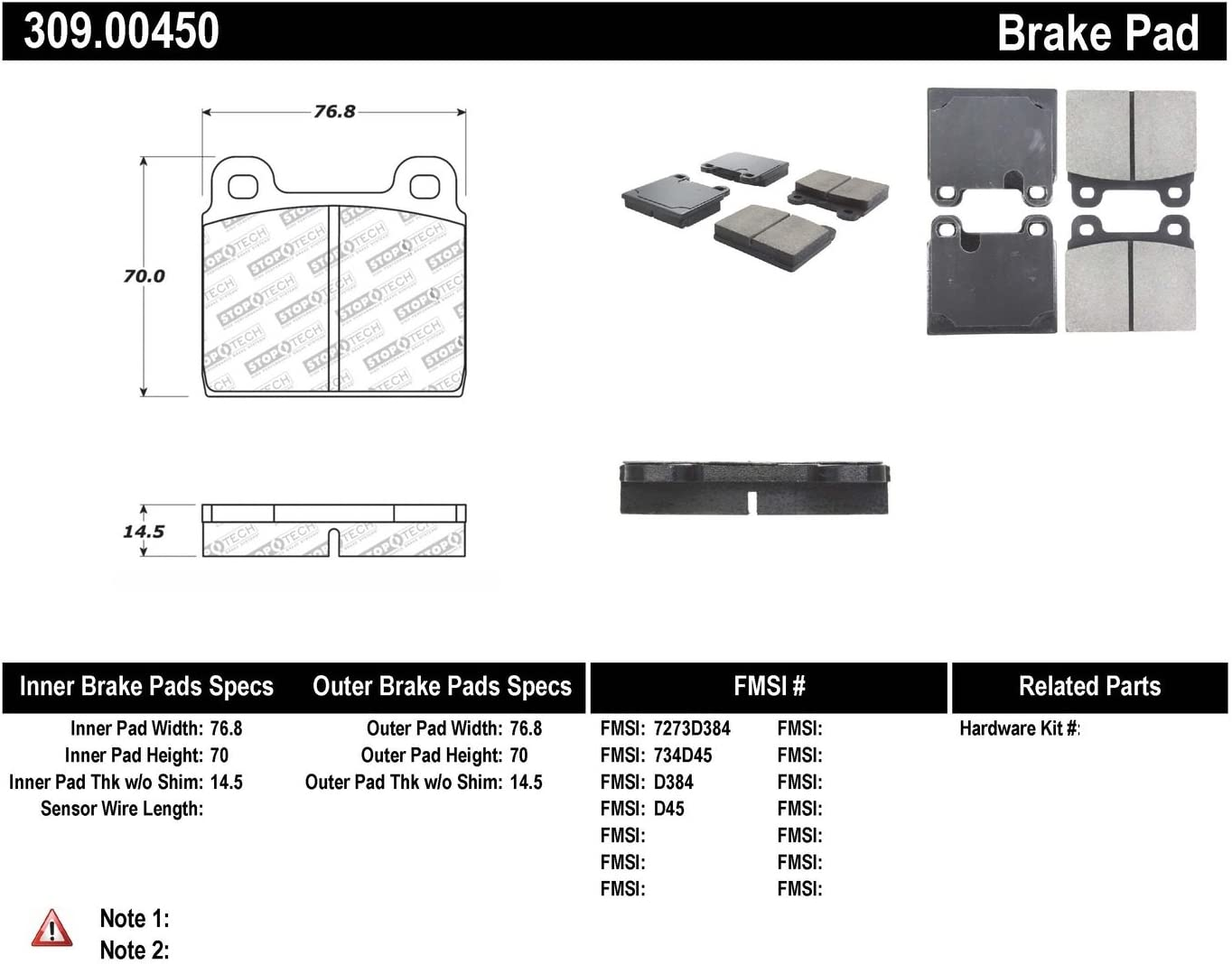 StopTech 309.00450 Street Performance Front Brake Pad
