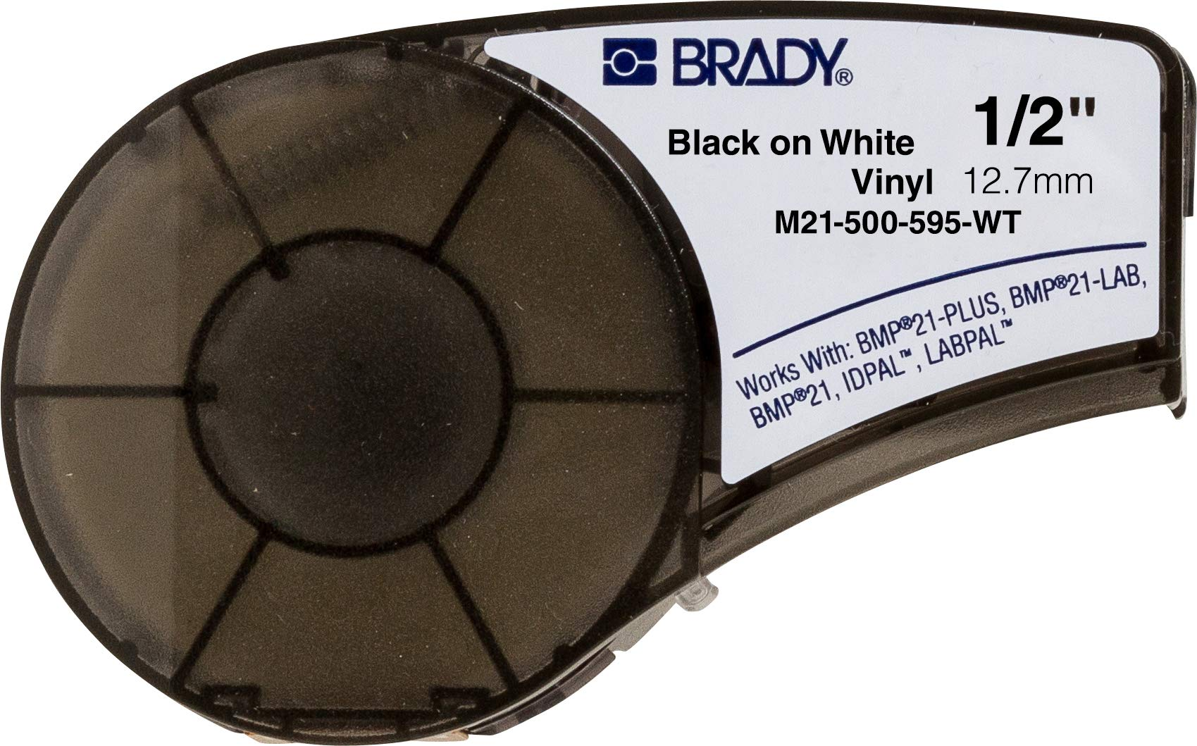 Brady High Adhesion Vinyl Label Tape (M21-500-595-WT) - Black on White Vinyl Film - Compatible with BMP21-PLUS, IDPAL, and LABPAL Label Printers - 21' Length, 0.5'' Width