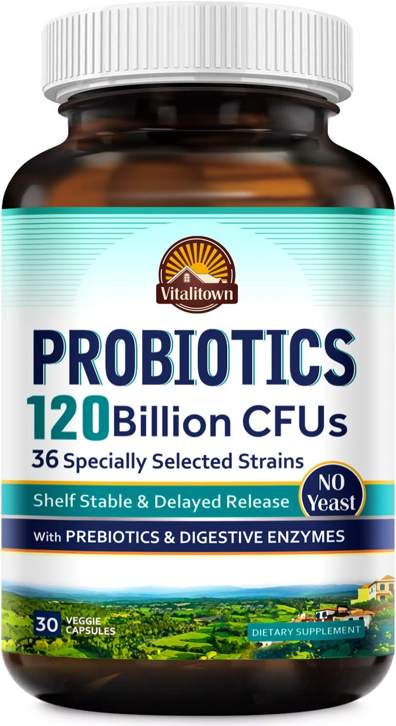 Vitalitown 120 Billion CFUs Probiotics | 36 Strains + Prebiotics + Digestive Enzymes for Men Women | Shelf Stable | Digestive & Immune Support | Vegan, Non-GMO, No Yeast | 30 Delayed Release Veg Caps