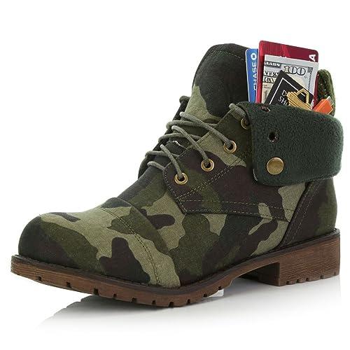 DailyShoes Botas de Mujer Estilo Jersey Top Tobillo Botas de Combate con Cuchillo de Bolsillo para Tarjeta de Crédito Dinero Cartera Bolsillo: Amazon.es: ...