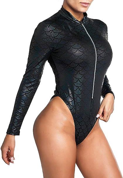 Amazon.com: Nihoe - Body de manga larga para mujer, diseño ...