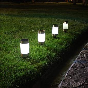 Mini Suelo De Luz De Jardín Solar Insertado Led Súper Brillante Plástico Solar Blanco Luces De Césped Luces De Paisaje De Jardín Blanco 26.3 * 7.5Cm: Amazon.es: Iluminación