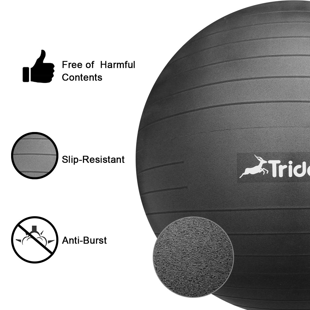 Trideer Exercise Ball (45-85cm) Yoga Ball Chair, Anti-Burst & Extra Thick, Birthing Ball with Quick Pump, Supports 2200lbs, Stability Ball (Office and Home) by Trideer (Image #4)