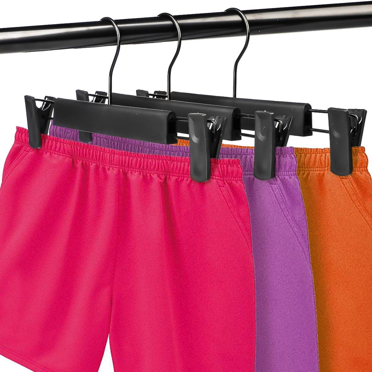 Amazon.com: Perchas para ropa de plástico negro, perchas ...