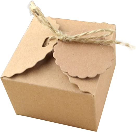 yalulu 50pcs papel Kraft papel favor Candy caja regalo cajas de ...