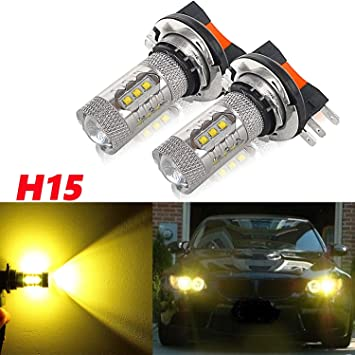 Xenon White 50W H15 CREE LED Bulbs For Audi BMW Mercedes VW For Daytime Lights