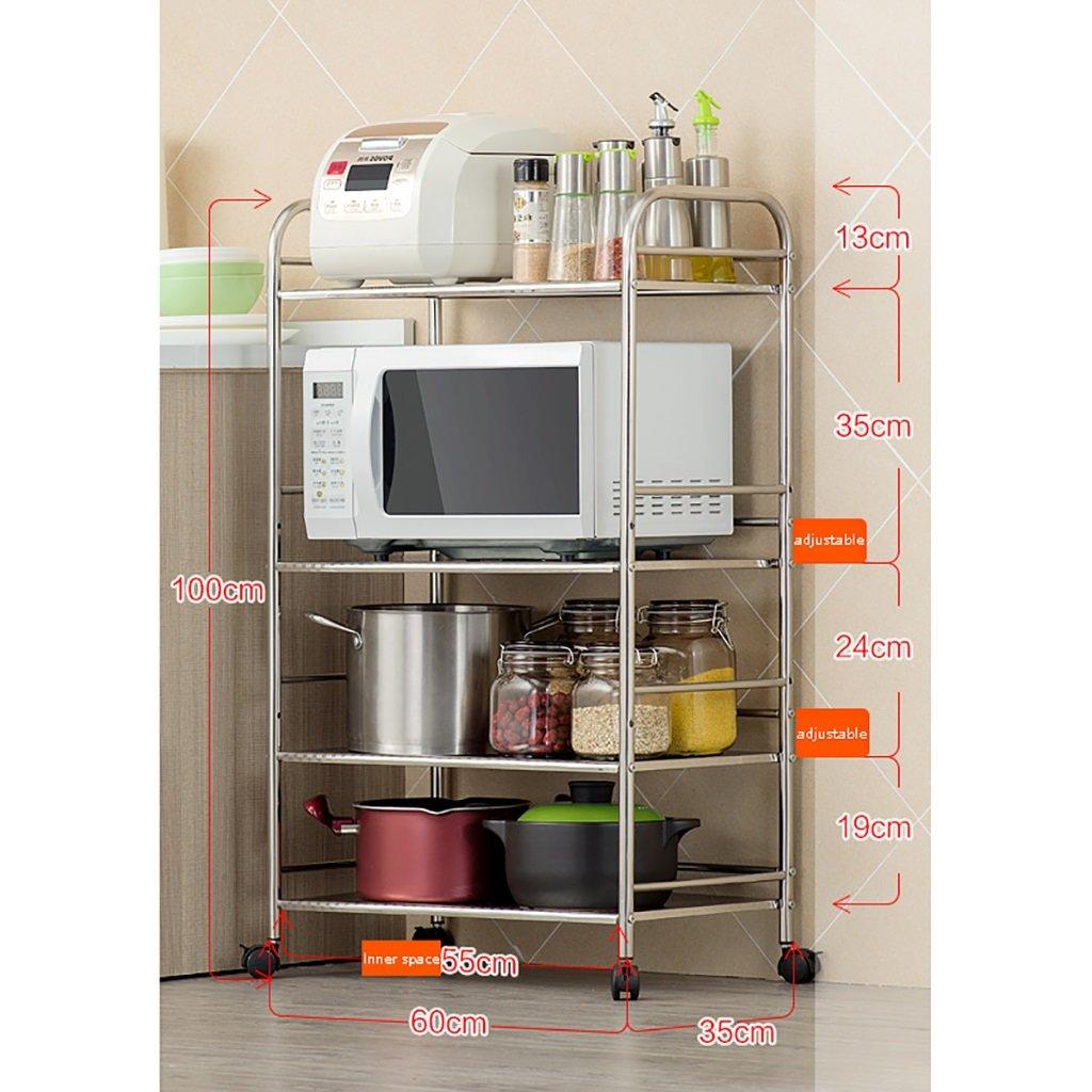 LXLA棚棚収納棚電子レンジオーブンキッチン床置き多層ステンレススチール製のキッチン物品3層4層5階(利用可能な40/50/60 * 35 * 75 / 100125cm) ( 色 : 4 layers , サイズ さいず : 60 cm 60 cm ) B07BGY1LFV 60 cm 60 cm 4 layers 4 layers 60 cm 60 cm